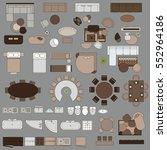 furniture in top view   Shutterstock .eps vector #552964186