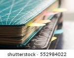 closeup to planner with... | Shutterstock . vector #552984022