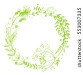 wreath flower drawn in green... | Shutterstock . vector #553007335