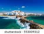 View Of Naxos Town And Breakin...