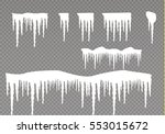 set of snow icicles isolated on ... | Shutterstock .eps vector #553015672