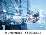double exposure of businessmen... | Shutterstock . vector #553016686