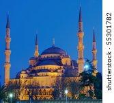 blue mosque illuminated at...   Shutterstock . vector #55301782