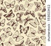 butterflies seamless pattern | Shutterstock .eps vector #553023412
