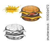 hand drawn hamburger isolated... | Shutterstock .eps vector #553026472