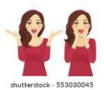 surprised beautiful woman... | Shutterstock .eps vector #553030045