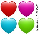 colored heart shapes set | Shutterstock .eps vector #553033432