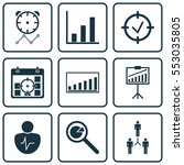 set of 9 executive icons.... | Shutterstock .eps vector #553035805
