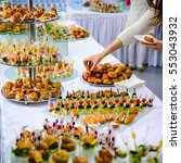 beautifully decorated catering... | Shutterstock . vector #553043932