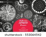 japanese food menu restaurant.... | Shutterstock .eps vector #553064542