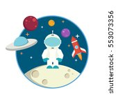flat astronaut | Shutterstock .eps vector #553073356