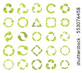 recycle eco signs set in green... | Shutterstock .eps vector #553076458