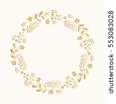 Stock vector gold floral round frame vector isolated 553083028