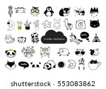 Stock vector scandinavian style simple design clean and cute black white illustrations collection of 553083862