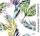 trendy seamless exotic pattern... | Shutterstock .eps vector #553093372
