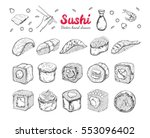 asian food collection. sushi. ... | Shutterstock .eps vector #553096402