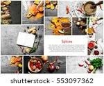 food collage of indian spice... | Shutterstock . vector #553097362