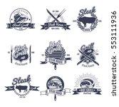 set of nine isolated vintage... | Shutterstock .eps vector #553111936