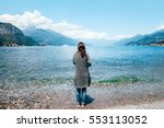 back view of young lonely woman ... | Shutterstock . vector #553113052