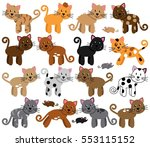 vector collection of cute and... | Shutterstock .eps vector #553115152