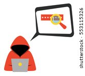 hacker wearing hoodie with... | Shutterstock .eps vector #553115326