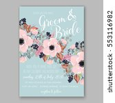 anemone wedding invitation card ... | Shutterstock .eps vector #553116982