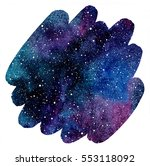 colorful watercolor galaxy or... | Shutterstock . vector #553118092