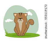 cute cat isolated icon | Shutterstock .eps vector #553119172
