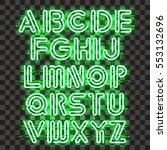 glowing green neon alphabet... | Shutterstock .eps vector #553132696