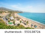 View Of Beach In Nerja. Malaga...