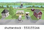 three pretty suburban houses in ... | Shutterstock .eps vector #553155166