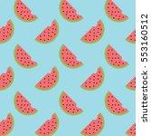 minimal watermelon pattern  | Shutterstock .eps vector #553160512