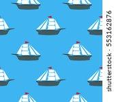 sea ships silhouettes seamless... | Shutterstock . vector #553162876