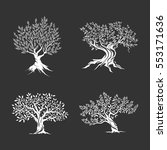olive trees silhouette icon set ... | Shutterstock .eps vector #553171636