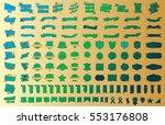 banner ribbon label green... | Shutterstock .eps vector #553176808