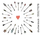 decorative arrows and heart... | Shutterstock .eps vector #553177078