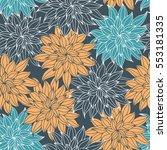 dahlia flowers  hand drawn... | Shutterstock . vector #553181335