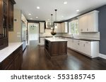 Stock photo kitchen in remodeled home with center island 553185745