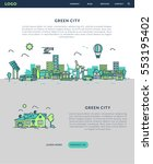 green city for website banner... | Shutterstock .eps vector #553195402