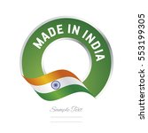 made in india flag green color...   Shutterstock .eps vector #553199305