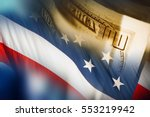 american dollars and the flag... | Shutterstock . vector #553219942