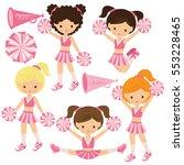 cheerleader vector cartoon... | Shutterstock .eps vector #553228465