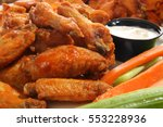 spicy chicken wings with ranch...   Shutterstock . vector #553228936