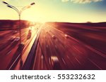 cars in motion blur on highway... | Shutterstock . vector #553232632
