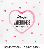 Stock vector happy valentines day card typography background with hearts 553245358