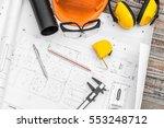 construction plans with helmet... | Shutterstock . vector #553248712