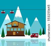 mountain ski resort vector... | Shutterstock .eps vector #553255645