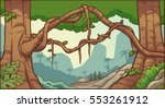 cartoon jungle background.... | Shutterstock .eps vector #553261912