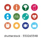 healthy lifestyle icons set.... | Shutterstock .eps vector #553265548