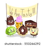 cute sweet tasty dessert... | Shutterstock .eps vector #553266292